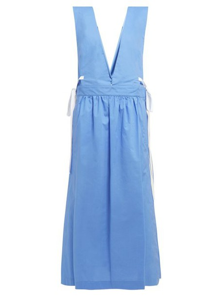 Mm6 Maison Margiela - V Neck Tie Detail Cotton Dress - Womens - Blue