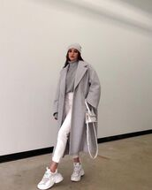 coat,grey coat,oversized,zara,sneakers,white jeans,turtleneck sweater,white bag