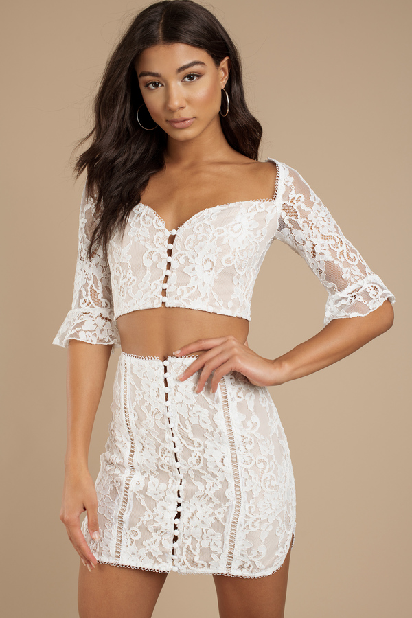 Lexy White Lace Sweetheart Crop Top