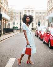 dress,midi dress,striped dress,short sleeve dress,belted dress,bucket bag,pumps