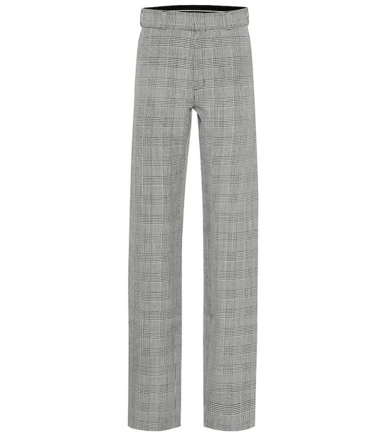 Vetements High-rise houndstooth wool pants in grey