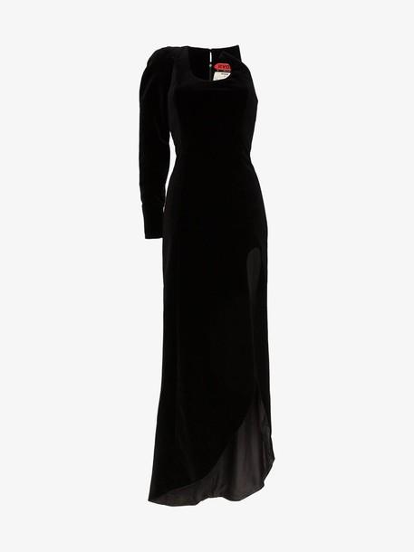 Ronald Van Der Kemp one-sleeved thigh slit velvet gown in black