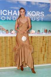 dress,gigi hadid,brown dress,brown,celebrity,asymmetrical