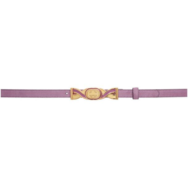 Gucci Purple Suede Buckle Belt