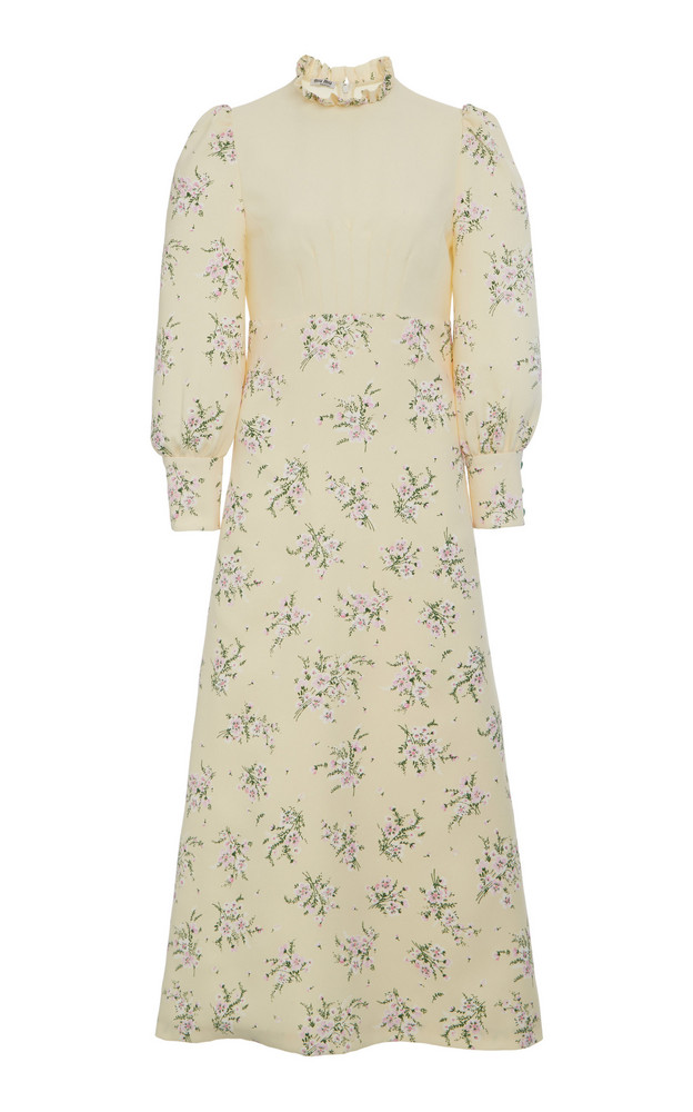 Miu Miu Floral Pleated Midi Dress in white