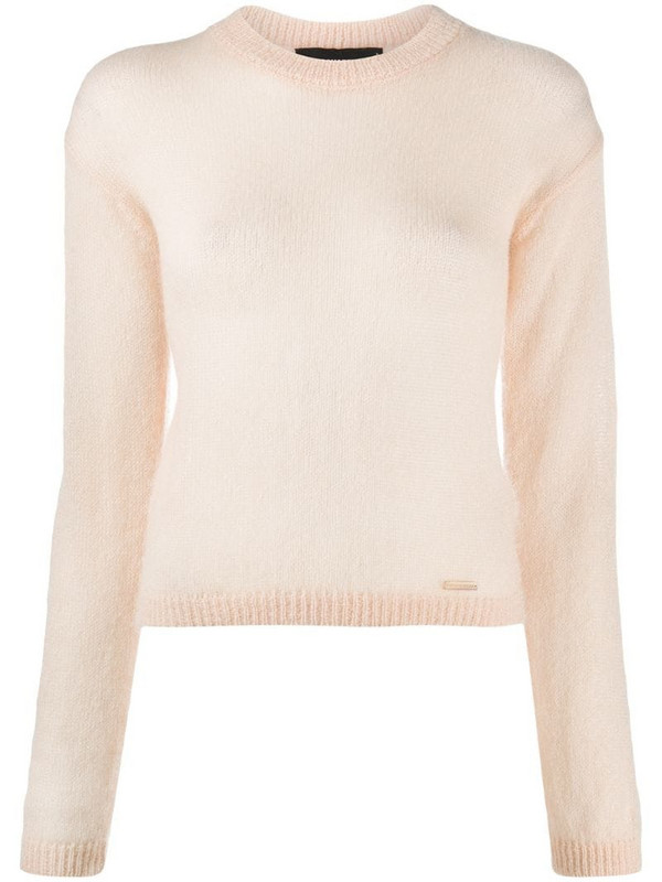 Dsquared2 ribbed crew neck jumper in white