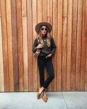 sweater,knitted sweater,brown shoes,loafers,black pants,shoulder bag,felt hat