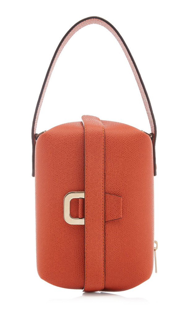 Valextra Tric Trac Leather Top Handle Bag in red