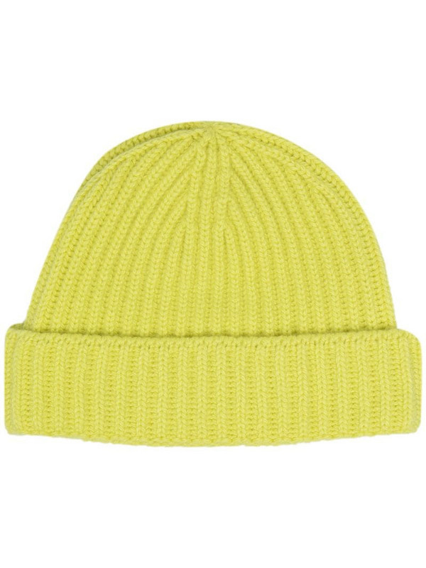 Pringle of Scotland ribbed cashmere beanie in yellow