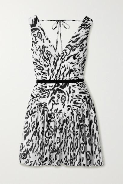 Self-Portrait - Leopard-print Plissé-chiffon Mini Dress - White