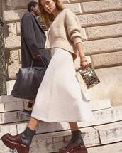 skirt,bag,shoes,sweater