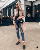 coat,midi coat,pink coat,black loafers,mules,cropped jeans,black bag,black top