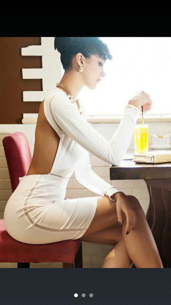 dress white dress backless dress