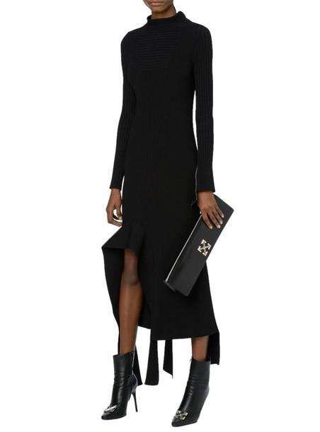 Off-White Knit Long Sleeve Dress in black