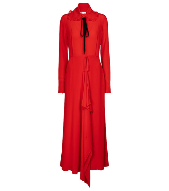 Victoria Beckham Ruffled silk maxi dress in red