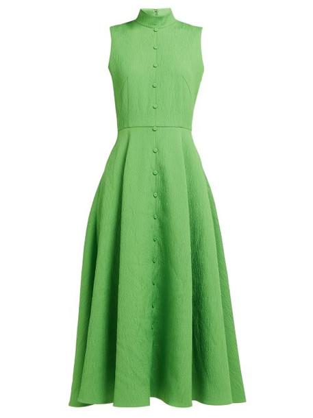 Emilia Wickstead - Sheila Cloqué Textured Crepe Midi Dress - Womens - Green