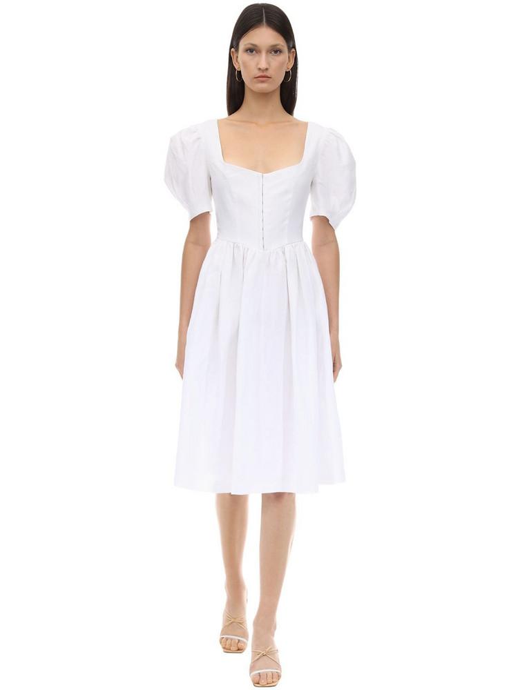 GIOIA BINI Clo Linen Dirndl Dress in white