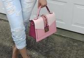 bag,pink,bucklebag,pink bag,three tone bag,crossbody bag