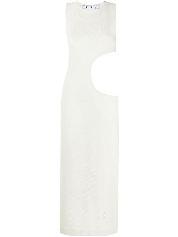 Off-White RIBBED WOOL OPEN CIRCLE DRESS BEIGE NO in neutrals