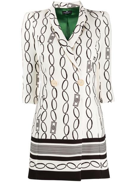 Elisabetta Franchi chain-print wrap dress in neutrals