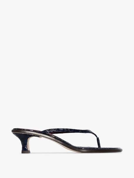 Sies Marjan navy alix 40 croc effect patent leather sandals
