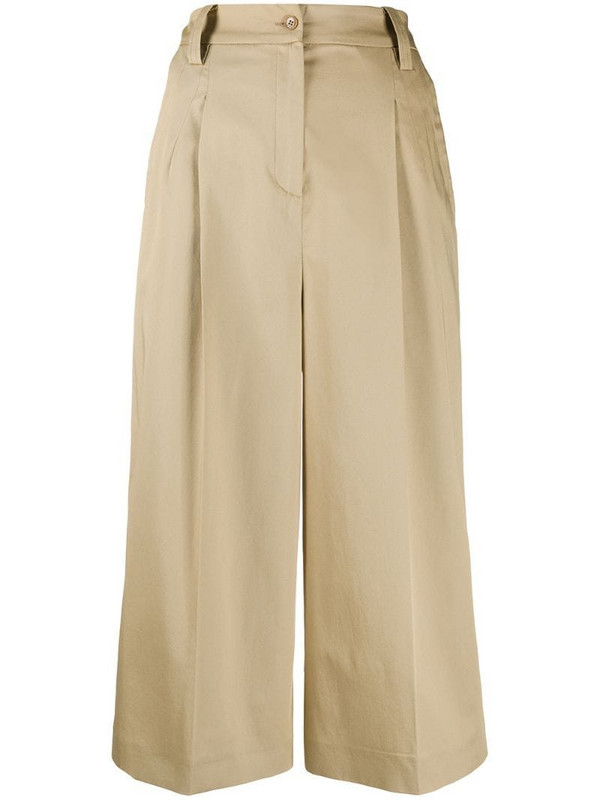 Etro cropped wide leg trousers in brown