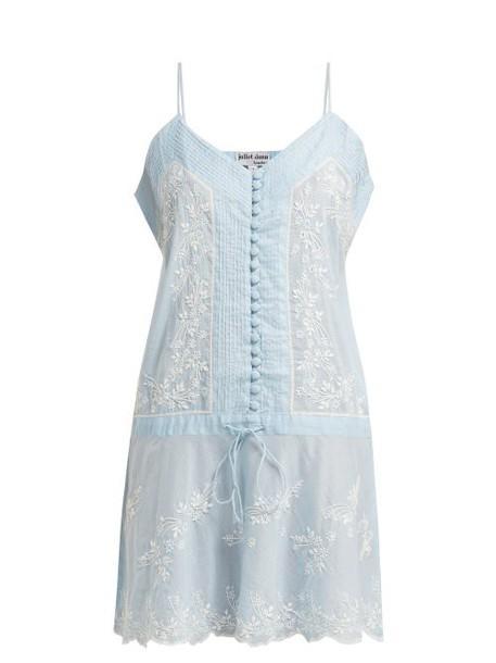 Juliet Dunn - Embroidered Cotton Slip Dress - Womens - Light Blue