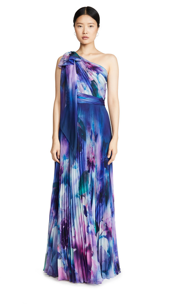 Marchesa Notte One Shoulder Chiffon Pleated Gown in blue