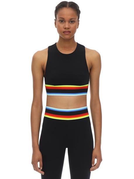 NO KA'OI Rainbow Lani Stretch Techno Bra Top in black