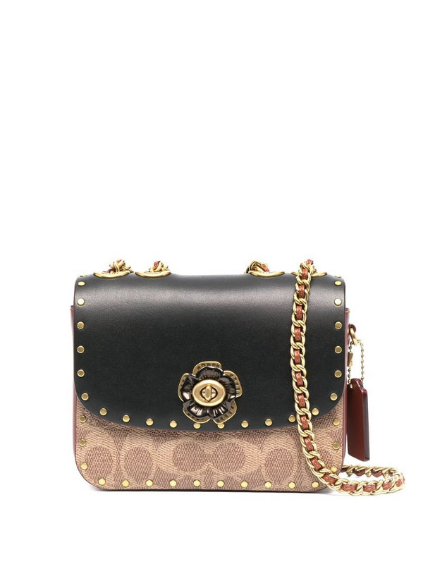 Coach Madison logo-print shoulder bag in brown