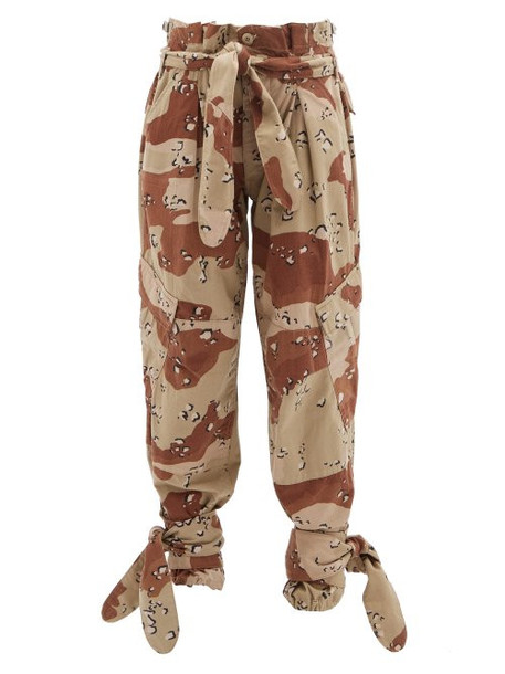 Re/done Originals - X The Attico Camouflage Paperbag Waist Trousers - Womens - Beige Multi
