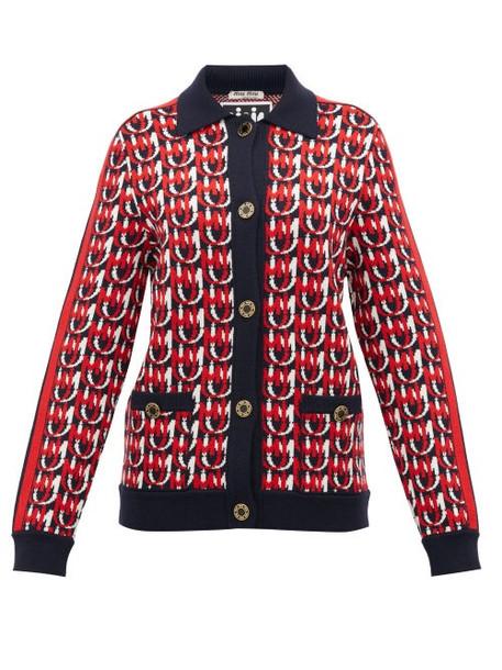 Miu Miu - Monogram Jacquard Wool Blend Cardigan - Womens - Navy Multi