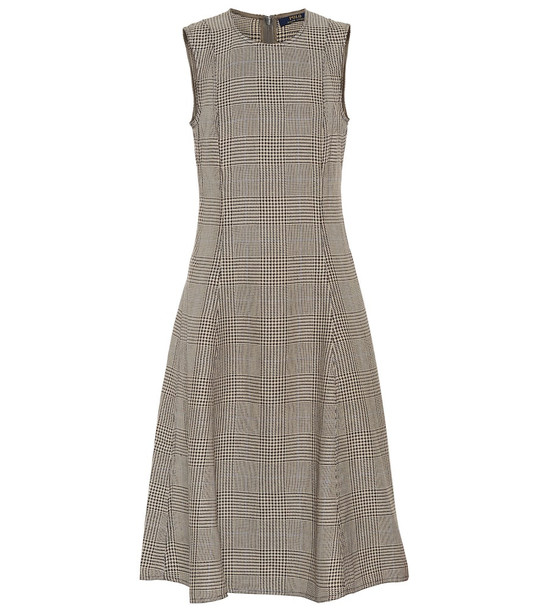 Polo Ralph Lauren Checked cotton and linen dress in brown