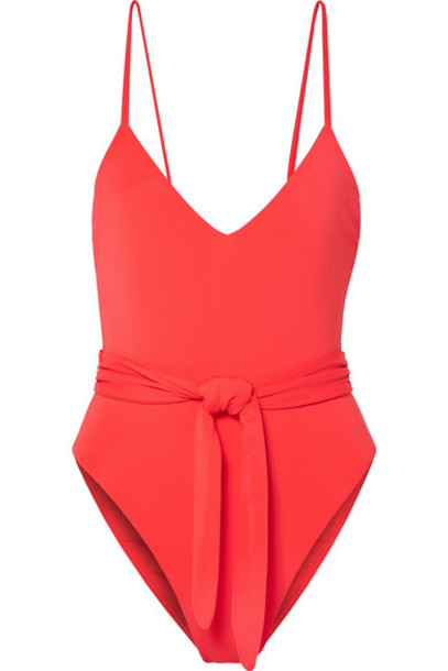 Mara Hoffman - Net Sustain Gamela Belted Swimsuit - Red