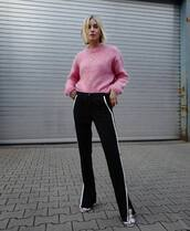 pants,black pants,high waisted pants,straight pants,striped pants,sandals,pink sweater