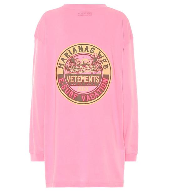 Vetements Oversized cotton-jersey sweatshirt in pink