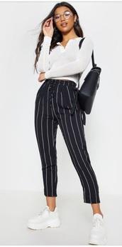 pants,stripes,black,white,black and white,black trousers,white trousers