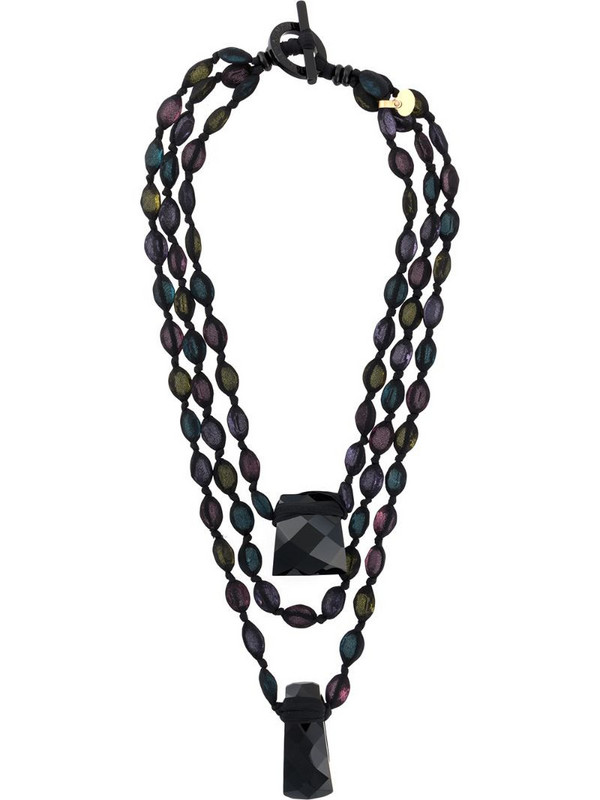 Giorgio Armani Pre-Owned 2000s layered bead necklace in black