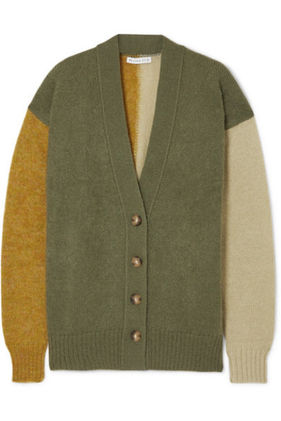 REJINA PYO - Murphy Color-block Mohair-blend Cardigan - Army green