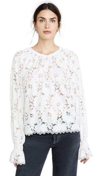 Free People Olivia Lace Top in ivory