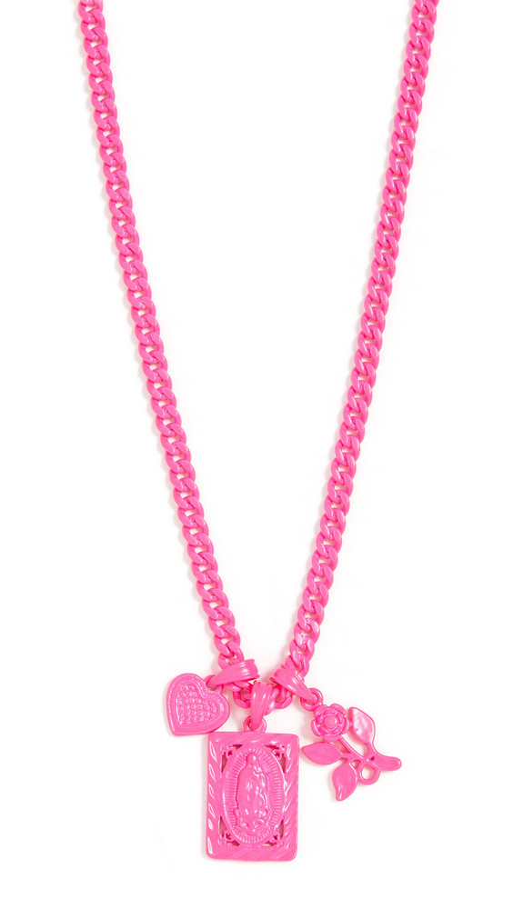 Luv Aj The Rainbow Triple Charm Necklace in pink