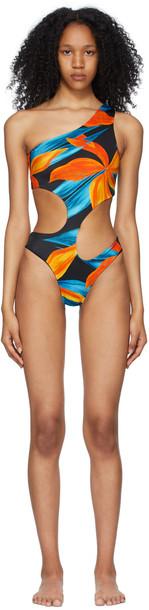 Louisa Ballou Blue & Orange Carve One-Piece Swimsuit