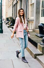 to be bright,blogger,jacket,top,shoes,bag,coat,pink jacket,blazer,ankle boots,spring outfits