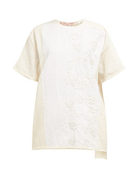 By Walid - Tatum Floral Embroidered Cotton T Shirt - Womens - Cream