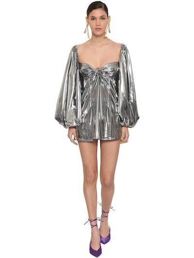 ATTICO Metallic Jersey Mini Dress W/ Bow Silver