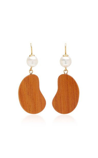 Sophie Monet The Bean Gold-Plated, Pearl and Mahogany Wood Earrings in brown
