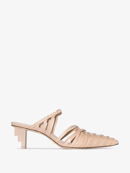 Cult Gaia nude Liora strappy leather pumps in neutrals