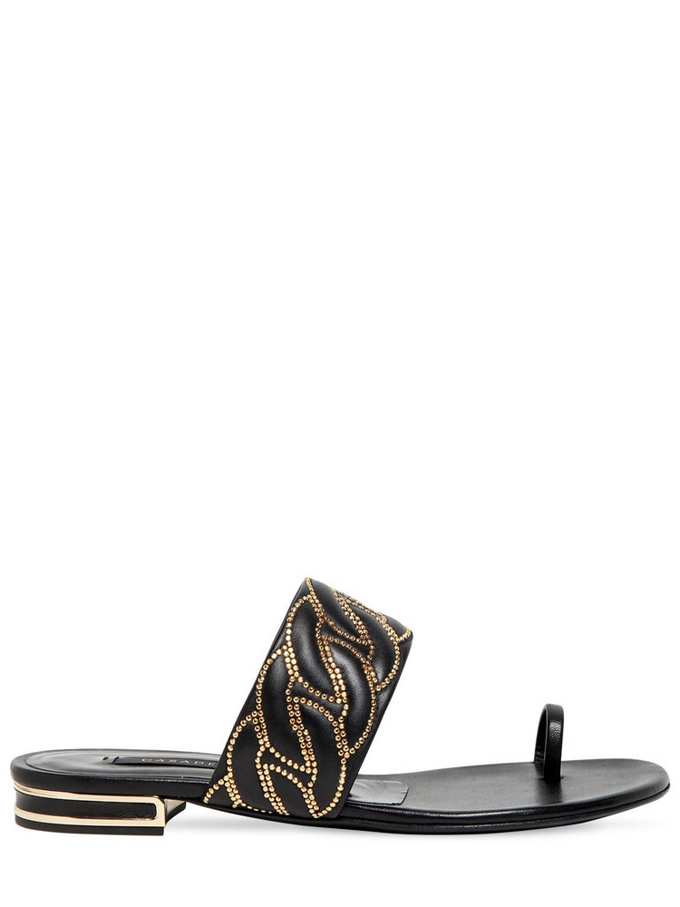 CASADEI 10mm Leather Studded Toe-ring Flats in black