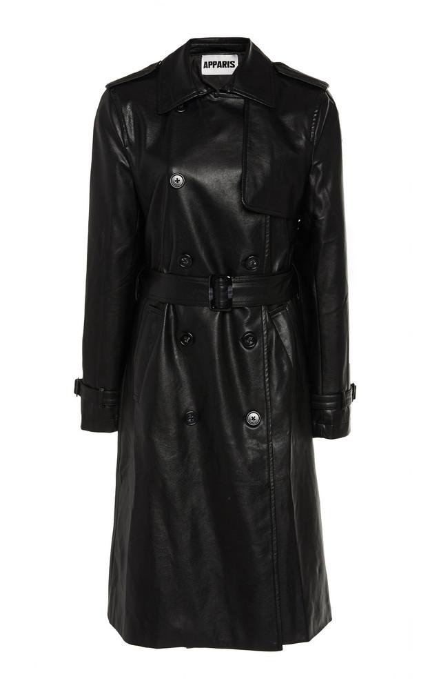 Apparis Lucia Vegan Leather Long Lined Coat in black