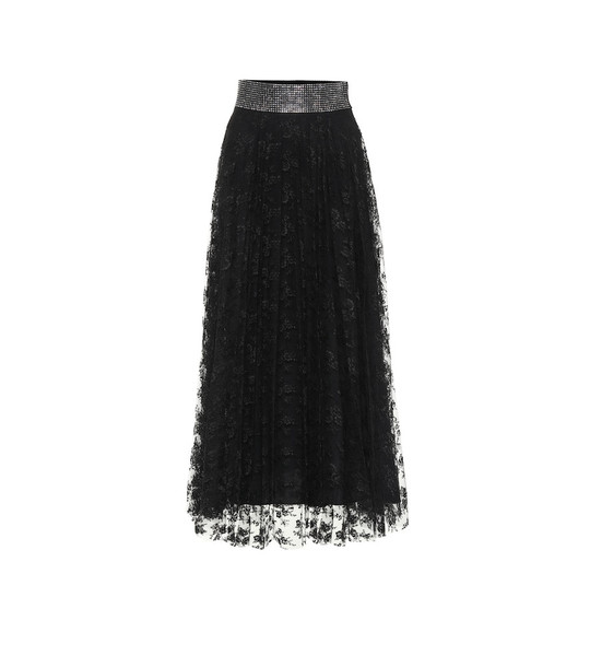 Christopher Kane Embellished lace midi skirt in black